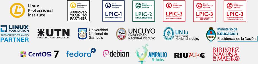 Linux Professional Institute - Linux Foundation - UTN - UNSL - UNCuyo - UNJu - Ministerio de Educación, Presidencia de la Nación - Biblioteca Nacional de Maestros - CentOS - Fedora - Debian - Ampalio Sin Límites - RIU - Debian