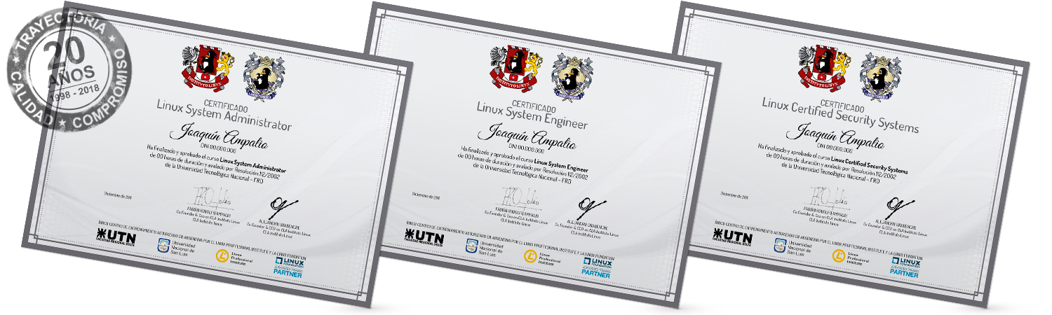 CERTIFICACIONES LINUX SYSTEM ADMINISTRATOR + LINUX SYSTEM ENGINEER + ETHICAL HACKER CERTIFIED